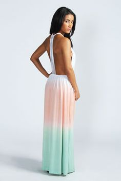 Sue Strappy Back Open Front Dip Dye Maxi Dress at boohoo.com - Error(s) on page