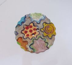 NEW - Huge Ceramic Art Button  - Funky Flower Button  - 2 hole hand made
