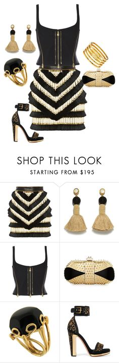 """""""Untitled #1558"""" by styledbytjohnson on Polyvore featuring Balmain, Lizzie Fortunato, Christian Louboutin, Valentin Magro, Alexander McQueen and Kenneth Jay Lane"""