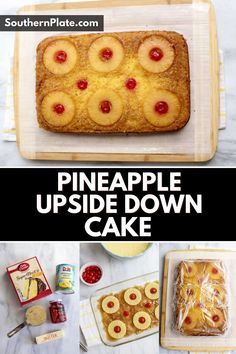 A buttery cake topped with a brown sugar glaze, slices of pineapple, and a cherry for each slice makes for the famous Pineapple Upside Down Cake . With only 5 ingredients and made with a box cake mix, this cake is simple, quick to make, and sure to be a favorite dessert!