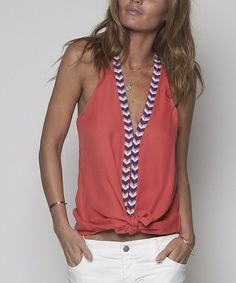 Another great find on #zulily! Coral & White Chevron Beaded Top by Rieley #zulilyfinds