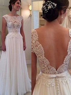 Lace Chiffon Backless A-line Wedding Dresses Capped Sleeves Sweep Train Summer Bridal Gowns This dress is beautiful! 😍 this is my future wedding dress! Prom Dresses 2017, 2016 Wedding Dresses, Wedding Gowns, Lace Wedding, Garden Wedding, Elegant Wedding, Wedding Dress Lace Top, Trendy Wedding, Wedding Venues