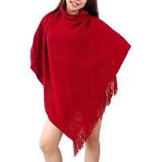 NISHAER Women's Clothing Knitted Hollow Out Tassel Trim Poncho Sweater