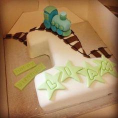 Train over No 1 shaped cake