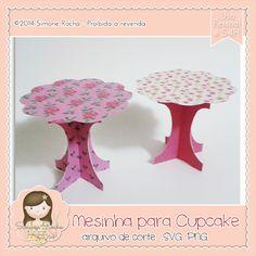 Arquivo de Corte Mesinha para Cupcake by Simone Rocha Cupcakes, Diy Hacks, Silhouette Cameo, Origami, Scrap, Paper Crafts, Boutique, Google, Cutting Files