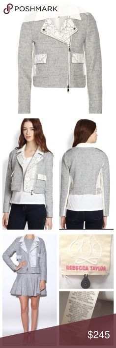 Rebecca Taylor lace trim tweed moto jacket size 8 Super cute Tebecca Taylor lace and leather trim tweed biker moto jacket. White leather collar, white lace trim, snap fastening epaulettes on lapels & waist tan. White ribbed panel sleeves, fully lined, asymmetric zip fastening -fits true to size-boxy cut to be worn loose, cropped length. Retails at $595 Great shape!! Rebecca Taylor Jackets & Coats