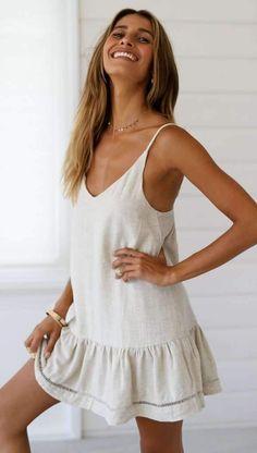 Casual V neck Backless Vest Shift Dresses - ClothingI Casual Dresses, Casual Outfits, Fashion Dresses, Cute Outfits, Casual Clothes, Sweater Outfits, Outfits For Teens, Summer Outfits, Ladies Summer Dresses