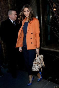Olivia Palermo... utterly amazing style. Love how consistent she is, also love the neutral animal print amongst those bold secondary colors.