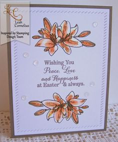 Inspired By Stamping, Leah Cornelius, Flower of the Month Easter Lily stamp set, Easter card