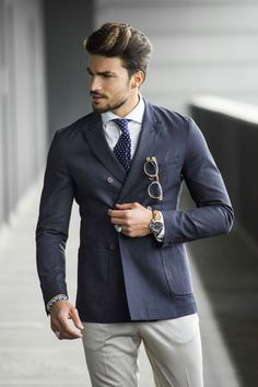 DOUBLE BREASTED INDINGO DENIM - MARIANO DI VAIO
