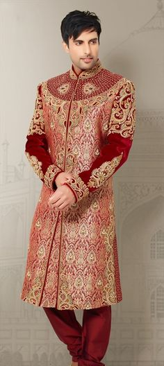 500042, Sherwani, Brocade, Patch, Stone, Zardozi, Machine Embroidery, Sequence, Red and Maroon Color Family