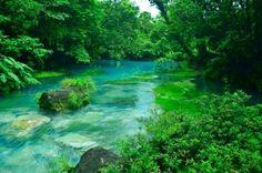 Rio Celeste hot springs at Tenorio Volcano National Park in Costa Rica