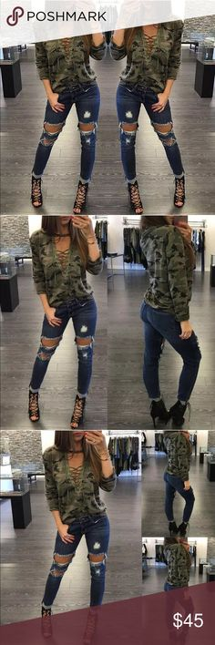 ✨{The Camo Girl} Sexy Lace up Front Sweater ✨Just in!✨ {The Camo Girl} Lace up front Long Sleeve Sweater✨Cotton/poly blend✨ ✨Available in S/M (Size 4-6); M/L (6-8); L/XL (8-10)✨When in doubt, refer to the measurements on the size chart above. It is usually best to size up when you're on the cusp.✨If you have questions, I'm happy to help, but only you can determine your measurements and sizing ✨Best pricing on custom bundles-ask me for yours! ✨ ✨Please allow 5-8 days Handling. ✨ Sweaters