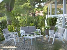 Salon bas de jardin 4 personnes résine/alu: canapé 2 places + 2 ...