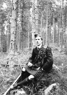 Old photograph of a Scotsman in Faskally forest near Pitlochry, Highland Perthshire, Scotland #ScotlandPast