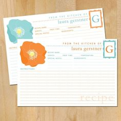 personalized recipe cards.