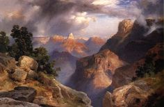 Thomas Moran Grand Canyon 1912 art painting for sale; Shop your favorite Thomas Moran Grand Canyon 1912 painting on canvas or frame at discount price. Landscape Art, Landscape Paintings, Oil Paintings, Green Landscape, Watercolor Paintings, Hudson River School Paintings, Thomas Moran, Thing 1, Cool Landscapes