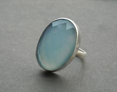 Blue chalcedony ring - Oval ring - Gemstone ring - Faceted ring - Bezel ring - Handmade sterling silver