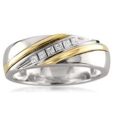 Montebello 14k Two-tone Gold Men's 1/5ct TDW Princess-cut White Diamond Wedding Band (H-I, I1) (Size 11)
