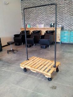 Just need help building it .Repurposed pallet and steel pipe coat rack Pipe Furniture, Pallet Furniture, Furniture Ideas, Repurposed Furniture, Furniture Stores, Pallet Projects, Home Projects, Pallet Ideas, Wooden Pallets