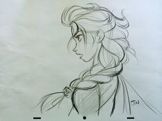beautiful sketch of Elsa by the original animator #Frozen #Disney #Elsa Gives me a better idea of how she'd look in 2D animation. Wish I could see more sketches like this one