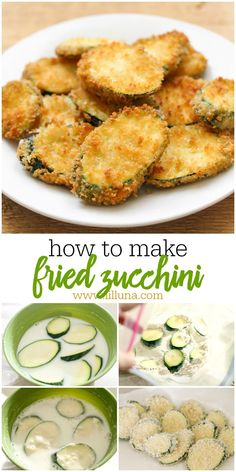 zucchini recipes Restaurant-style Fried Zucchini - this delicious side and appetizer is a family favorite. Fried to perfection, this dish often served with Ranch or marinara is simply addicting! Fried Zucchini Recipes, Fried Zucchini Chips, How To Cook Zucchini, Zucchini Recipes With Flour, Baked Fried Zucchini, Zuchinni Side Dish Recipes, Zuchini And Squash Recipes, Vegan Zucchini Fries, Fried Zuccini