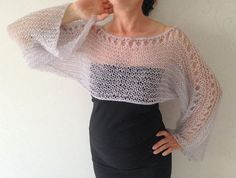 Cropped Sweater  Cropped Shrug Loose Knit Mohair Shrug von Mrlworks