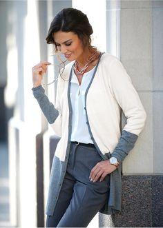 Długi sweter rozpinany Premium z kaszmirem • 129.99 zł • bonprix