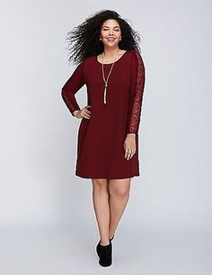 Sheer eyelash lace (fashion speak for that fringe edge) on the sleeves brings the detail to this swing dress. Bust darts. Hidden zipper with hook-and-eye closure. Lined. lanebryant.com