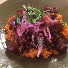 Happy Friday!!! Don\'t miss today\'s special at Boca 31: PORK CHILE COLORADO - SWEET POTATO MASH (with pickled onions) - $11.00 @boca31.denton #sweetpotato #denton #dentoning #UNT #TWU #foodporn #chefslife #wedentondoit #dentoneats #dentonproud #boca31 #latinflavors #visitdenton #welovedenton #eatlocal #eatfresh #supportlocal #bestofdenton #foodiesindenton #yodenton #dentonslacker