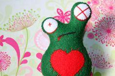Zombie Frog Felt Brooch Pin