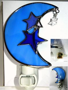 Details about Stained Glass Blue Moon & Stars Night Light Stained Glass Night Lights, Faux Stained Glass, Fused Glass Art, Glass Paperweights, Stained Glass Windows, Fox Images, Star Night Light, Nightlights, Free Prints