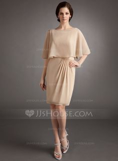 Sheath/Column Scoop Neck Knee-Length Chiffon Mother of the Bride Dress With Ruffle (008006129)