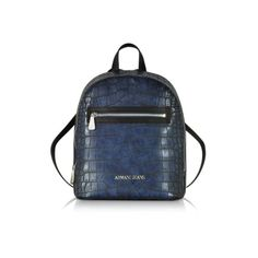 dde05c909d15 Armani Jeans Handbags Dark Navy Faux Embossed Croco Leather Backpack (840  SAR) ❤ liked on Polyvore featuring bags