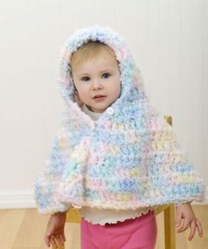 Hooded Crochet Baby Poncho