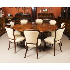 A rare Queen Anne Revival walnut jupe action dining table by Gillows with 8 cabriole dining chairs, all dating from the late century. Buy Dining Table, Extendable Dining Table, Dining Set, Dining Chairs, Expanding Round Table, Chair Height, Table Seating, Table And Chair Sets, Queen Anne