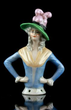 Antque German Art Nouveau Pin Cushion Half Doll Elegant Lady Feathers Hat 28 | eBay