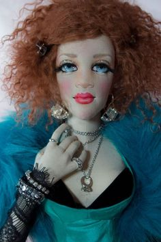 """Boudoir Doll OOAK *Ginger 25"""" Vintage Inspired Cloth Lady Art Doll by Gayle Wray"""