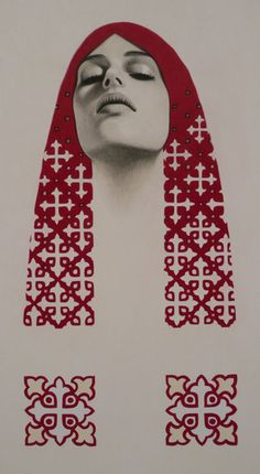 """""""Priestess"""" by Erlend Tait in collaboration with Pamela Tait (colour pencil on paper, 45cm x 30cm)"""