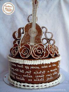 Gitáros grillázstorta Gingerbread, 3 D, Birthday Cake, Cakes, Desserts, Design, Decor, Crack Crackers, Sprouts