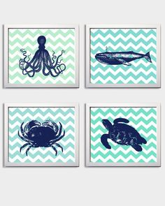 cute ocean prints for the kids bathroom