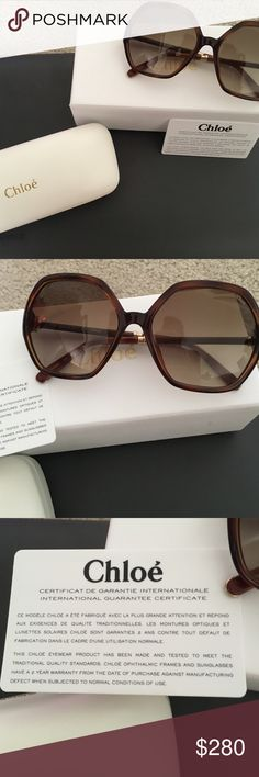 FINAL PRICE Chloe sunnies NWT Chloe sunglasses. Never worn. Comes with authenticity card and Chloe case with box. 57 mm Chloe Accessories Sunglasses