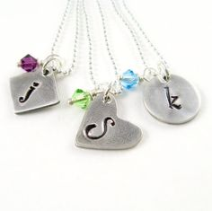 Silver Initial Necklace Birthstone Initial by newhopebeading, $37.00