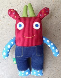 Soft toy monster toy monster softie in red stripes and by oopah, $48.00