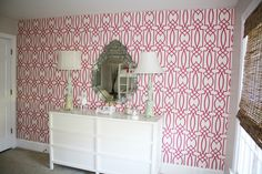 Very cool #HotPink #trellis design on this room's #wallpaper  #nursery