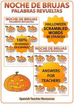 Scrambled Halloween Words in Spanish Worksheet. Palabras revueltas con vocabulario acerca de la Noche de Brujas en español.