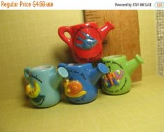 SALE Tiny WATERING CANS Snail Butterfly Swallow Bird