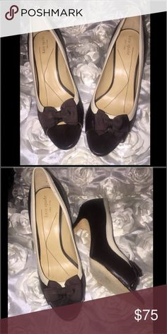 Kate Spade ♠️ Kate Spade 😘 brown / cream heels with bow size 7 ( gorgeous ) kate spade Shoes Heels