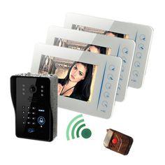 "7"" 1V3 Support 4CH Extenal Camera Water-proof Intercom Video Door Phone"