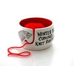 Spel van tronen, Winter is coming brei sneller garen kom, GOT fanart, cadeau voor breien haken breien kom